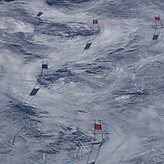 The used ski slope during the Women's Giant Slalom competition at Coronet Peak, New Zealand during the Winter Games. Queenstown, New Zealand, 23nd August 2011. Photo Tim Clayton