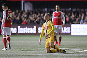 Sutton United's Adam May (12) is tackled to the ground during the The FA Cup match between Sutton United and Arsenal at Gander Green Lane, Sutton, United Kingdom on 20 February 2017. Photo by Phil Duncan.