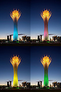 The Baiterek is the New Astana's main symbol and landmark. At night, it is lit in changing colors.