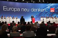"""26 JAN 2014, BERLIN/GERMANY:<br /> Martin Schulz (M), SPD, Praesident des Europaeischen Parlamentes und Spitzenkandidat zur Europawahl, haelt eine Rede zur Einbringung des Leitantrags """"Europa"""", a.o. SPD Bundesparteitag, Arena Berlin<br /> IMAGE: 20140126-01-224<br /> KEYWORDS: party congress, Parteitag, Übersicht, Uebersicht"""