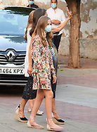 Queen Letizia of Spain, Crown Princess Leonor, Princess Sofia arrive to National Inn on July 22, 2020 in Merida, Spain