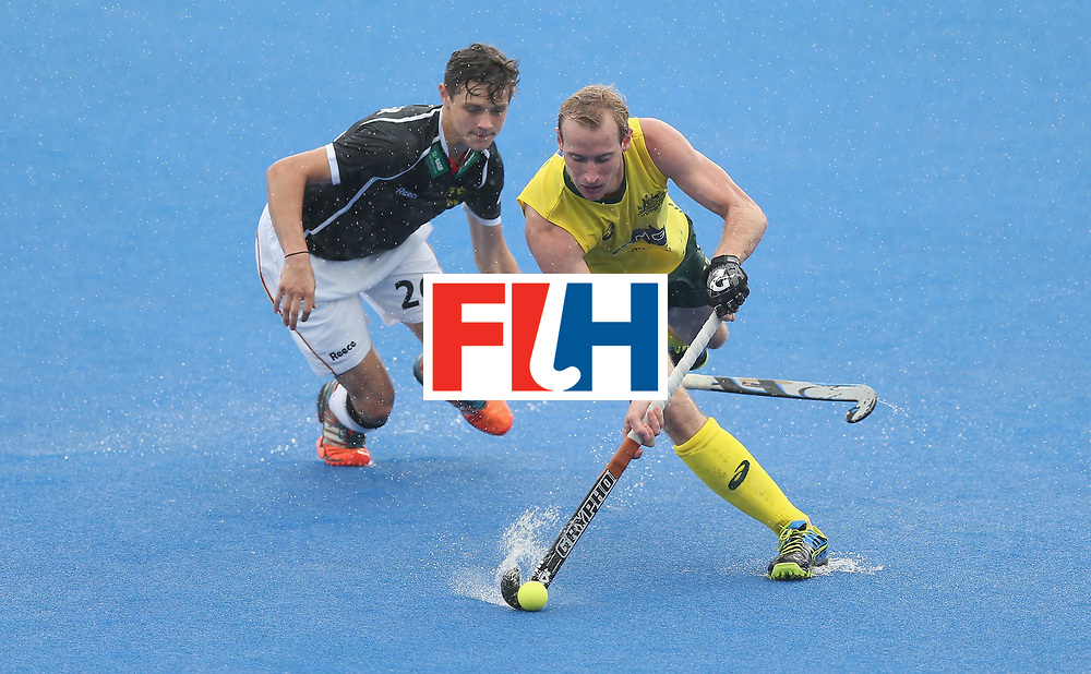 LONDON, ENGLAND - JUNE 13:  Aran Zalewski of Australia and Moritz Rothlander during the FIH Mens Hero Hockey Champions Trophy match between Germany and Australia at Queen Elizabeth Olympic Park on June 13, 2016 in London, England.  (Photo by Alex Morton/Getty Images)