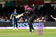 Peter Trego of Somerset has to avoid a bouncer from Fidel Edwards of Hampshire during the Royal London 1 Day Cup Final match between Somerset County Cricket Club and Hampshire County Cricket Club at Lord's Cricket Ground, St John's Wood, United Kingdom on 25 May 2019.