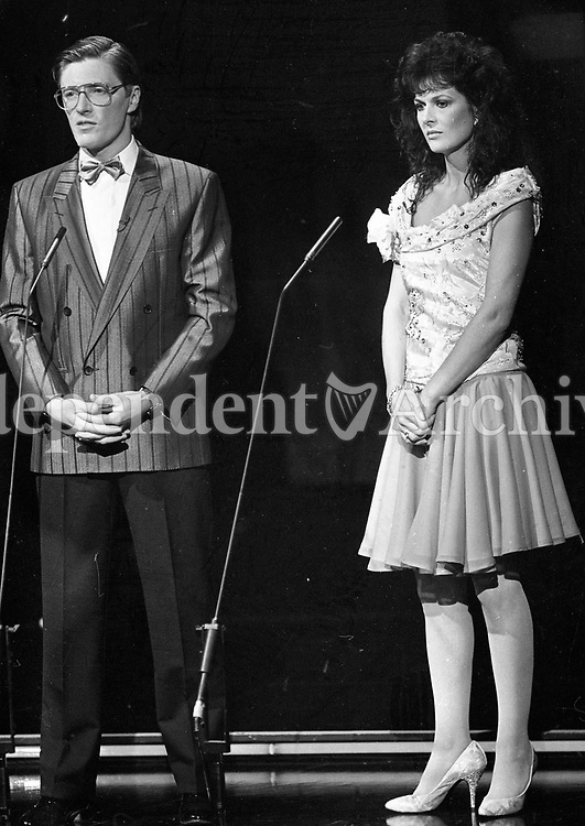 Eurovision Song Contest rehearsals in the RDS, Dublin, Presenters Pat Kenny and Michelle Rocca on stage, 29/04/1988 (Part of the Independent Newspapers Ireland/NLI Collection).