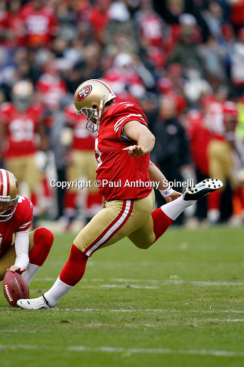 San Francisco 49ers place kicker Jeff Reed (3) kicks a PAT that gives the Niners a 31-7 lead during the NFL week 17 football game against the Arizona Cardinals on Sunday, January 2, 2011 in San Francisco, California. The 49ers won the game 38-7. (©Paul Anthony Spinelli)