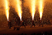 Men holding fire canons used in the Toyohashi Fire Festival