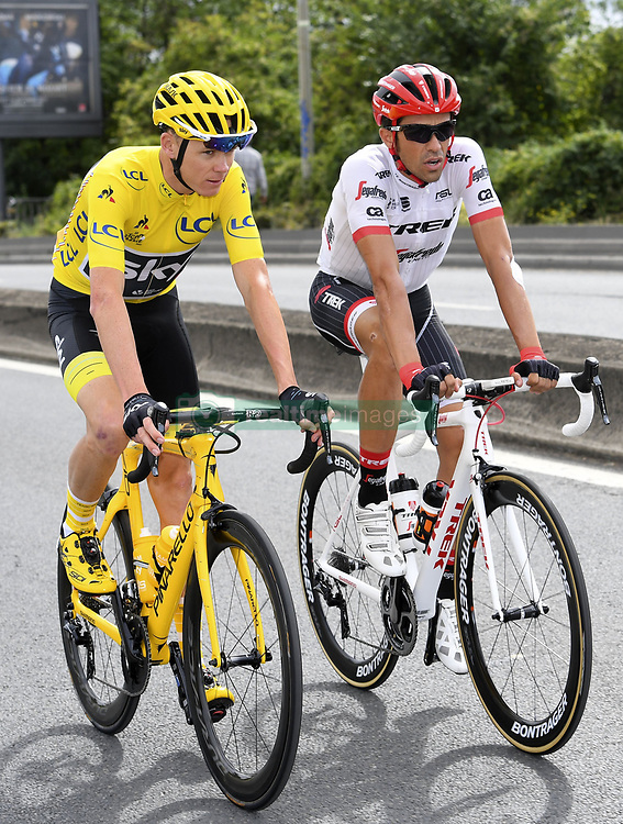 July 23, 2017 - Paris, France - PARIS, FRANCE - JULY 23 : FROOME Christopher of Team Sky, CONTADOR Alberto of Trek - Segafredo  during stage 21 of the 104th edition of the 2017 Tour de France cycling race, a stage of 103 kms between Montgeron and Paris Champs-Elysees on July 23, 2017 in Paris, France, 23/07/17 (Credit Image: © Panoramic via ZUMA Press)