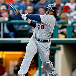 Mar 7, 2013; Lake Buena Vista, FL, USA; Detroit Tigers first baseman Prince Fielder (28) grounds out against the Atlanta Braves during the top of the second inning of a spring training game at Champion Stadium. Mandatory Credit: Derick E. Hingle-USA TODAY Sports