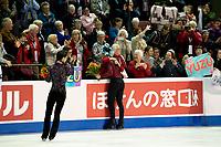 KELOWNA, BC - OCTOBER 27: Mens long program gold medalist, Japanese skater Yuzuru Hanyu, silver medalist, Canadian figure skater Nam Nguyen and bronze medalist, Japanese skater Keiji Tanaka stand on the ice at Prospera Place on October 27, 2019 in Kelowna, Canada. (Photo by Marissa Baecker/Shoot the Breeze)