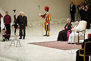 Jan 07th 2015 Vatican City, Pope Francis attends his weekly general audience. In the picture the artists of Liana Orfei Circus lead a performance for the pope