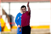 Referee Gareth Rhodes officiates  the Annual Selby Hands of Hope Charity match between Selby Hands of Hope FC and Malt Shovel FC at The Fairfax Stadium, Selby Town FC, Selby, United Kingdom on 28 December 2017. Photo by Simon Davies.