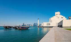 View of Museum of Islamic Art in Doha, Qatar. Architect IM Pei