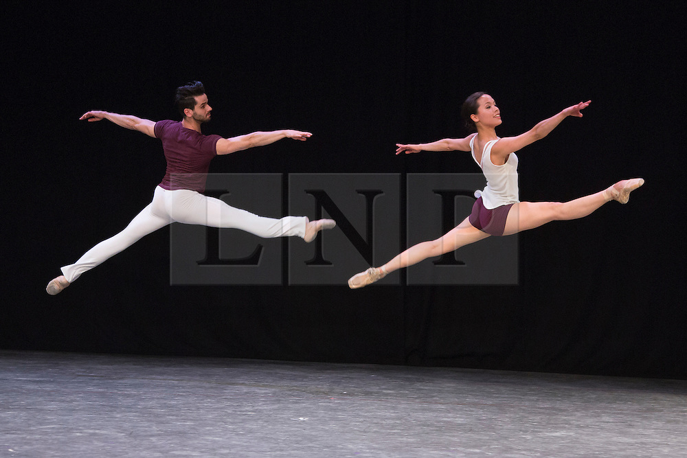 """© Licensed to London News Pictures. 07/08/2015. London, UK. Alexandra Cameron-Martin and Gyorgy Baan performing Wundarra. Members of the New English Ballet Theatre rehearse their forthcoming performances for """"Dancing for Nepal"""" at the Clore Studio/Royal Opera House. From 20-22 August 2015, the New English Ballet Theatre and special guests will perform at St James Theatre to raise funds for the Nepal earthquake relief effort. Photo credit: Bettina Strenske/LNP"""