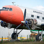 An historic plane once used by the Argentinian Navy is on display next to the small aircraft runway at Ushuaia Airport.