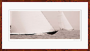 Framed sailboat decor photo of 12 Meter Class Northern Light and Onawa racing at the Nantucket 12 Meter Regatta.