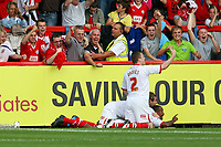 Football - League Two - Aldershot Town vs. Crawley Town<br /> John Akinde of Crawley Town  celebrates scoring against Aldershot at the EBB Stadium