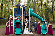 wedding party in a park playground by Tallmadge wedding photographer, Akron wedding photographer Mara Robinson Photography