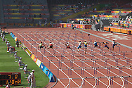 2008 Beijing Olympic Games. Athletics competitions at the National Stadium. Men compete in the hurdles.