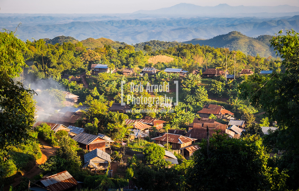 An evening view of the hill tribe village of Pankam near Hsipaw, Shan State in Myanmar.
