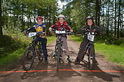 Children line at at the strart of youth cycle race in Heathhall forest, Dumfries