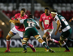 Pascal Pape of Stade Francais (L) and Mike Williams of Leicester Tigers in action - Mandatory byline: Jack Phillips / JMP - 07966386802 - 13/11/15 - RUGBY - Welford Road, Leicester, Leicestershire - Leicester Tigers v Stade Francais - European Rugby Champions Cup Pool 4