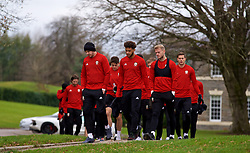 CARDIFF, WALES - Monday, November 19, 2018: Wales' goalkeeper Daniel Ward and Tyler Roberts walk to a training session at the Vale Resort ahead of the International Friendly match between Albania and Wales. (Pic by David Rawcliffe/Propaganda)