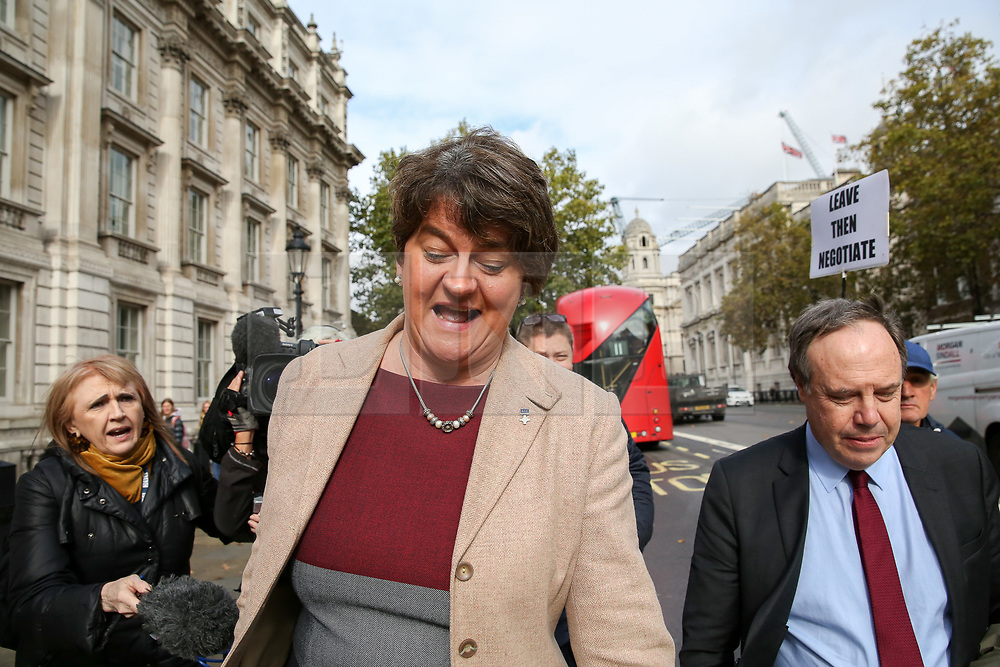 © Licensed to London News Pictures. 16/10/2019. London, UK. © Licensed to London News Pictures. 16/10/2019. London, UK. Deputy leader of the Democratic Unionist Party (DUP) NIGEL DODDS and leader of the Democratic Unionist Party (DUP) ARLENE FOSTER leaves Cabinet Office after a meeting with the Prime Minister BORIS JOHNSON. Photo credit: Dinendra Haria/LNPPhoto credit: Dinendra Haria/LNP