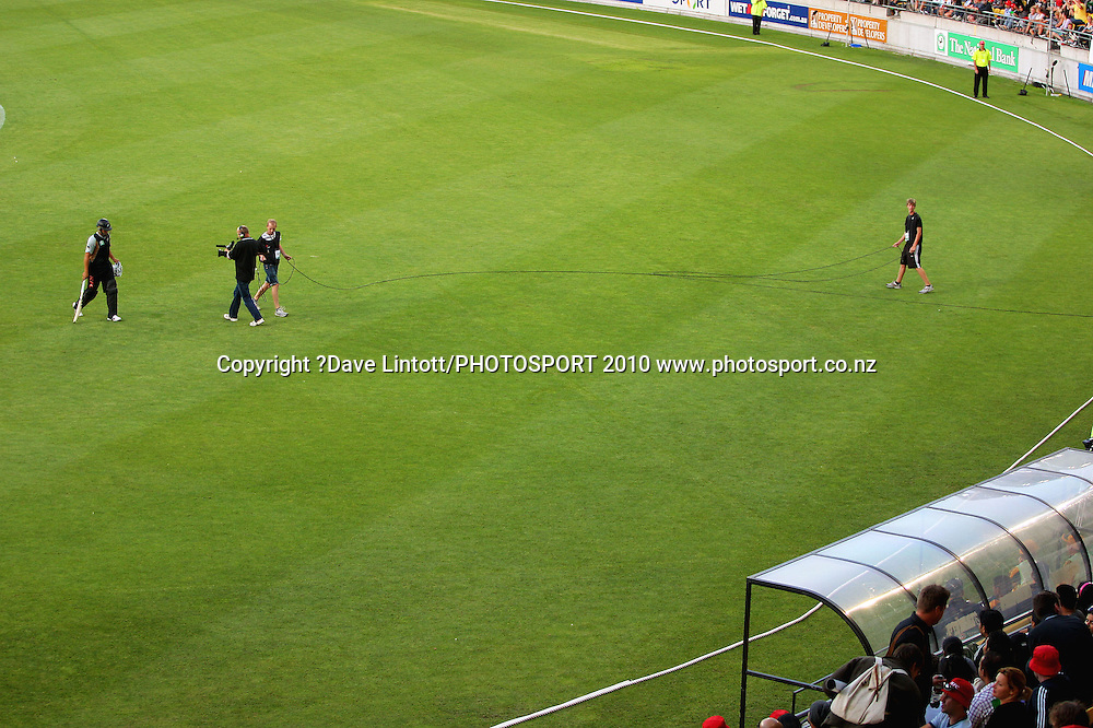 NZ's Ross Taylor walks from the field after being dismissed for 9 by Mitchell Johnson.<br /> 1st Twenty20 cricket match - New Zealand v Australia at Westpac Stadium, Wellington. Friday, 26 February 2010. Photo: Dave Lintott/PHOTOSPORT
