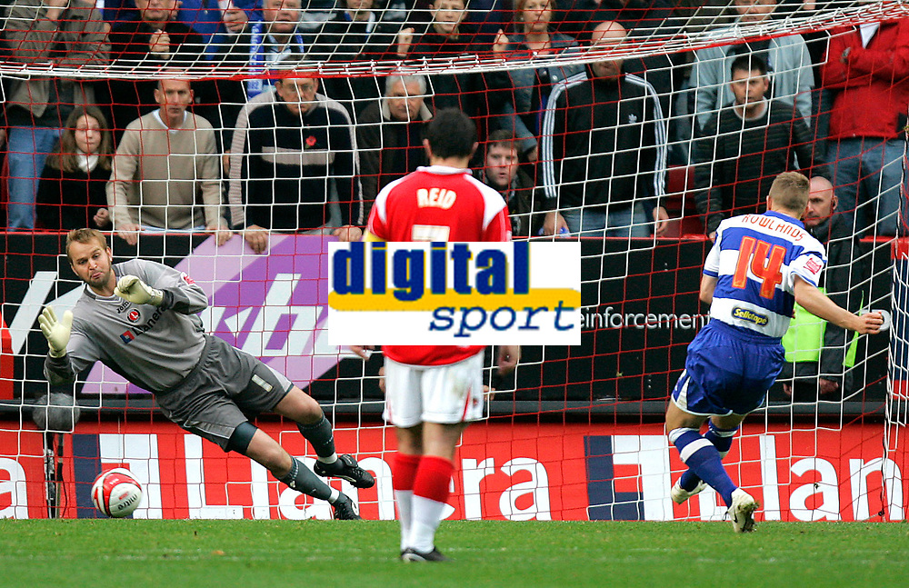 Photo: Tom Dulat.<br /> <br /> Charlton Athletic v Queens Park Rangers. Coca Cola Championship. 27/10/2007.<br /> <br /> Martin Rowlands of Queens Park Rangers misses penalty shot. Goalkeeper of Charlton Athletic Nicky Weaver saves the ball.