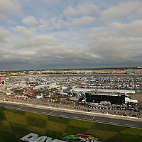 A general overview of Daytona International Speedway from the starting line tower on Thursday, February 21, 2013 in Daytona Beach, Florida.  (AP Photo/Alex Menendez)