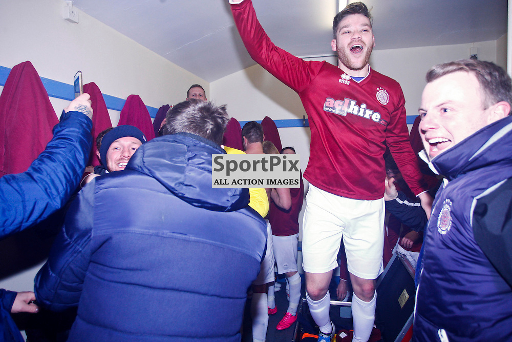 Linlithgow Rose players including goalscorer Kevin Kelbie (2nd right) celebrate at full time after Linlithgow made history by becoming the first junior club to make the Scottish Cup 5th round<br /> (c) Andrew West | SportPix.org.uk