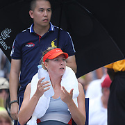 Maria Sharapova, Russia, asks for permission to drink water from her coach during her match against Caroline Wozniacki, Denmark, during the US Open Tennis Tournament, Flushing, New York, USA. 31st August 2014. Photo Tim Clayton