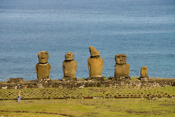 Chile, Easter Island: Statues or moai on a platform or ahu, called Ahu Tahai, near the town of Hanga Roa..Photo #: ch218-33093.Photo copyright Lee Foster www.fostertravel.com lee@fostertravel.com 510-549-2202