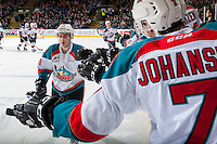 KELOWNA, CANADA - MARCH 4: Dillon Dube #19 of the Kelowna Rockets high fives the bench after scoring a second period goal against the Tri-City Americans on March 4, 2017 at Prospera Place in Kelowna, British Columbia, Canada.  (Photo by Marissa Baecker/Shoot the Breeze)  *** Local Caption ***