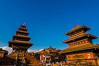 Taumadhi Square, Bhaktapur, Nepal (Nyatapola Pagoda on left and Bhairav Temple is on right)