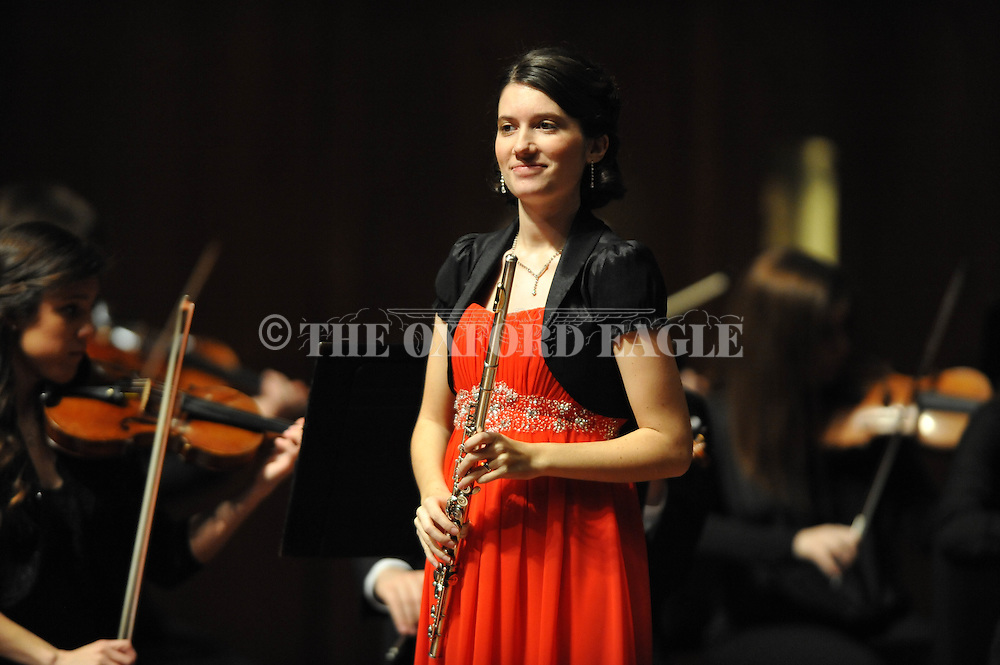 """Chelsea Riches performs on flute as the LOU Symphony plays Franz Doppler's """"Fantasie Pastorale Hongroise, Op. 26"""" at the Ford Center in Oxford, Miss. on Monday, February 9, 2015."""