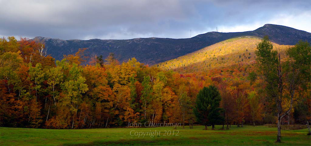 Fall woods in front of Mt Mansfield in Vermont