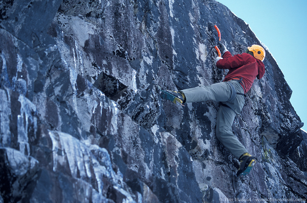 Roger Strong leading Rizzla', M7+, at the Rap Wall, a new mixed crag in the Alpental Valley at Snoqualmie Pass.