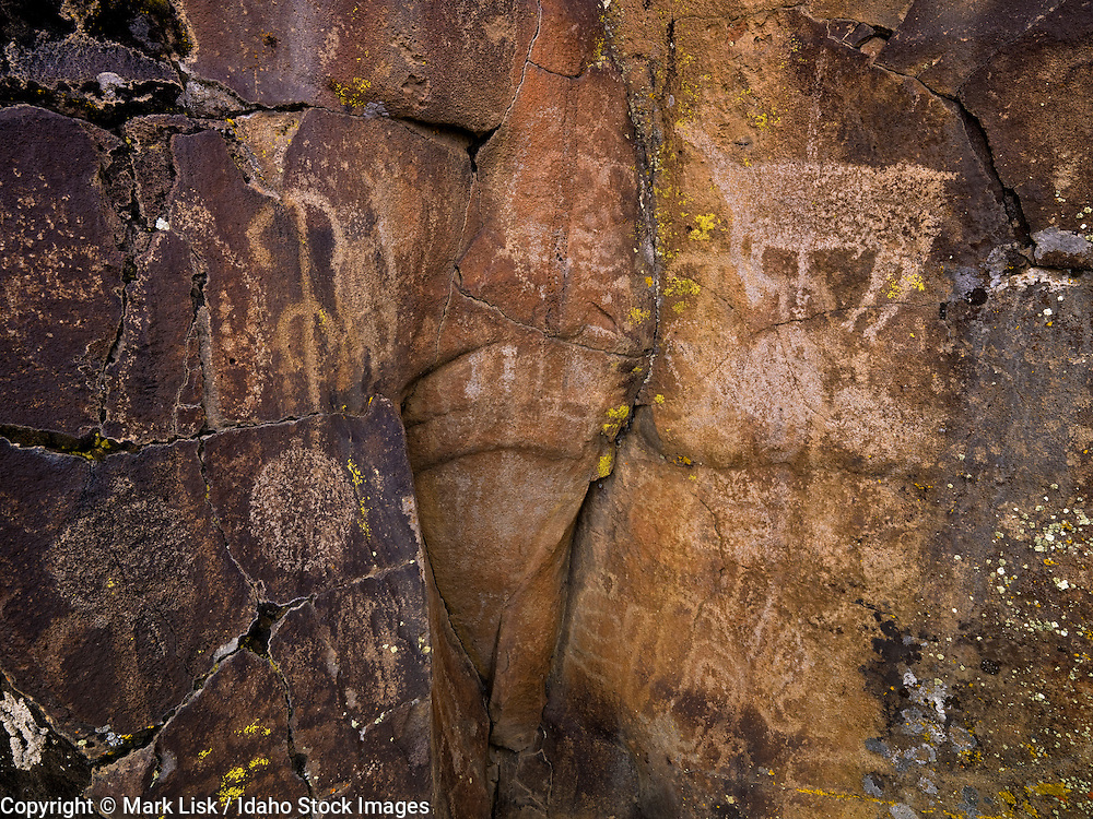 A petroglyph panel lines one of many basalt canyons in the Owyhee Canyonlands, Idaho.