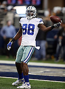 Dallas Cowboys wide receiver Dez Bryant (88) catches a pregame pass with one hand before the NFL week 18 NFC Wild Card postseason football game against the Detroit Lions on Sunday, Jan. 4, 2015 in Arlington, Texas. The Cowboys won the game 24-20. ©Paul Anthony Spinelli