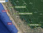 Peru map covering Lima, Cordillera Blanca, Cordillera Huayuash, Machu Picchu, South America
