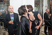 MARC QUINN; BIANCA JAGGER; KRISTINA BLAHNIK, Harper's Bazaar Women Of the Year Awards 2011. Claridges. Brook St. London. 8 November 2011. <br /> <br />  , -DO NOT ARCHIVE-© Copyright Photograph by Dafydd Jones. 248 Clapham Rd. London SW9 0PZ. Tel 0207 820 0771. www.dafjones.com.