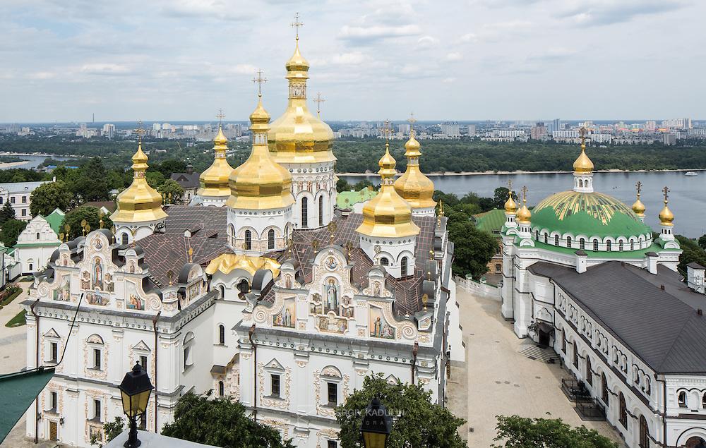 Kyiv-Pecherska Lavra, Kyiv, Ukraine. Bird view from the bell tower onto Uspensky Cathedral and Trapezna Church.