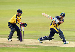 Glamorgan's Jacques Ruldolph sweeps - Photo mandatory by-line: Robbie Stephenson/JMP - Mobile: 07966 386802 - 03/07/2015 - SPORT - Cricket - Southampton - The Ageas Bowl - Hampshire v Glamorgan - Natwest T20 Blast