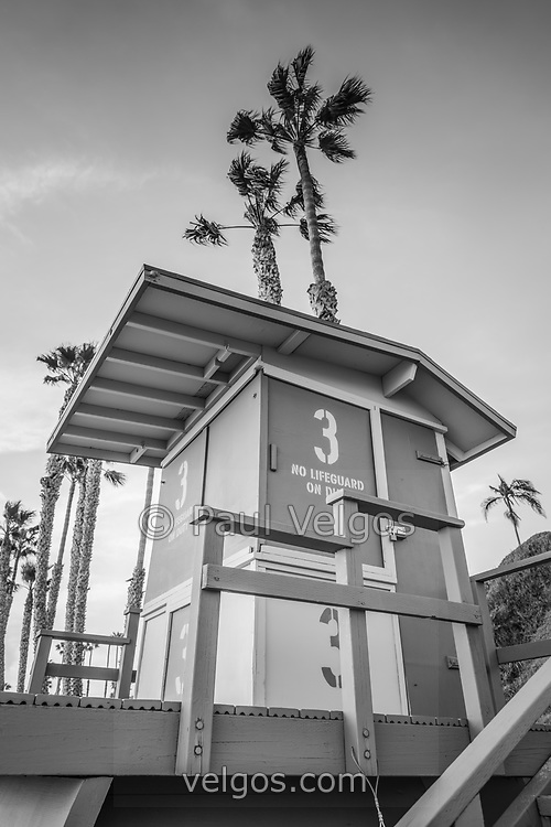San Clemente Lifeguard Tower 3 black and white photo with palm trees in the background. San Clemente is a coastal city in Orange County California in the USA. Copyright ⓒ 2017 Paul Velgos with All Rights Reserved.