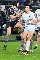 Rugby Union - 2017 / 2018 European Rugby Champions Cup - Pool Two: Ospreys vs. Saracens<br /> <br /> Dan Evansr of Ospreys leaps for the ball, at The Liberty Stadium.<br /> <br /> COLORSPORT/WINSTON BYNORTH