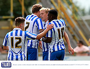 The Robins celebrate their second goal during the Pre-Season Friendly match between Weston Super Mare and Cheltenham Town at the Woodspring Stadium, Weston Super Mare, United Kingdom on 18 July 2015. Photo by Carl Hewlett