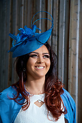 LIVERPOOL, ENGLAND - Thursday, April 6, 2017: Molly Frankland, 22 from Colne, wearing Karen Millen, during The Opening Day on Day One of the Aintree Grand National Festival 2017 at Aintree Racecourse. (Pic by David Rawcliffe/Propaganda)