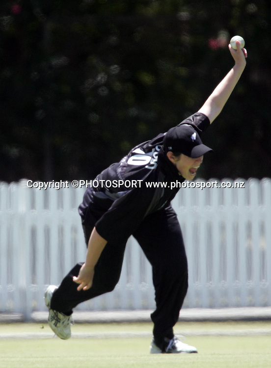 New Zealand's Anna Dodd celebrates the catch she made to take the wicket of Karen Rolton during the first ODI Rose Bowl cricket match between the White Ferns and Australia at Allan Border Field, Brisbane, Australia, on Friday 20 October 2006. Australia won the match by 2 with a total of 201. Photo: Renee McKay/PHOTOSPORT<br /><br /><br />201006