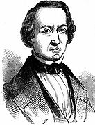 Urbain Jean Joseph Leverrier (1811-1877) French astronomer who calculated the position of planet Neptune in 1846.  Calculations confirmed were shortly after by JG Galle at Berlin. Woodcut published London 1847.